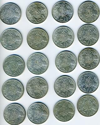 20 Australian 1966 Round Silver Fifty Cent Coins
