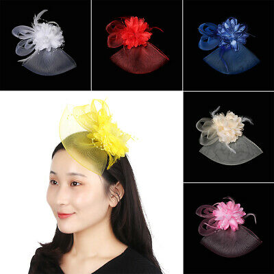 Ladies Flower Feather Fascinator Hair Clips Women Ascot Proms Party Accessories