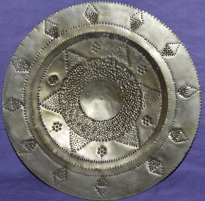 Vintage hand made ornate metal wall decor plate