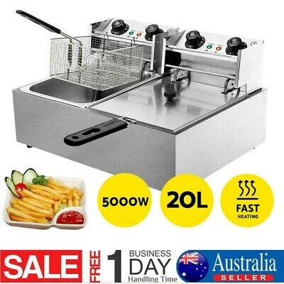 20L Electric Deep Fryer Commercial Fry Frying Fat Chip Cooker Tank Basket NEW