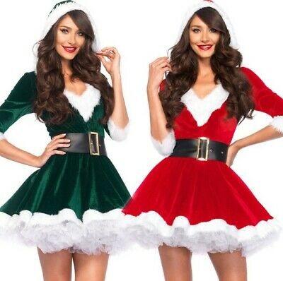 Women's Christmas New Adult Hooded Dress Santa Claus Plays V-neck Clothing