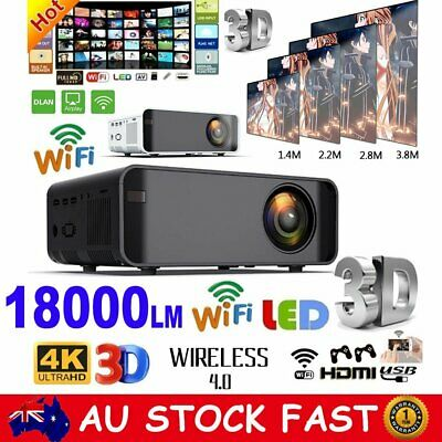 Smart 1080P HD Android WiFi 3D Mini Video Projector Home Theatre Cinema HDMI USB