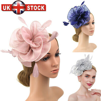 Flower Feather Fascinator Headband Hair Accessories Ladies Race Royal Ascot UK D