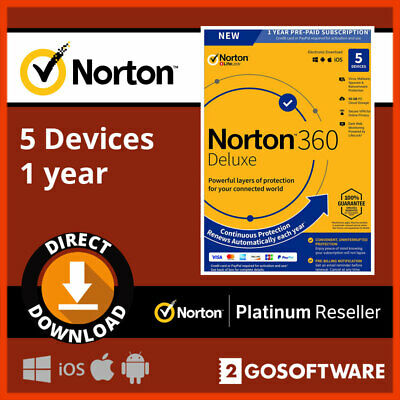 Norton 360 Deluxe 5 Devices 1Year License 50GB Cloud Storage Virus Protection