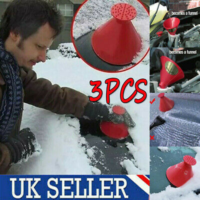 3X Magical Car Windshield Ice Snow Remover Scraper Tool Cone Shaped Round Funnel