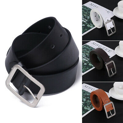 Men's PU Leather Jeans Belt Casual Pin Buckle Waist Strap Waistband 108CM HQ AU