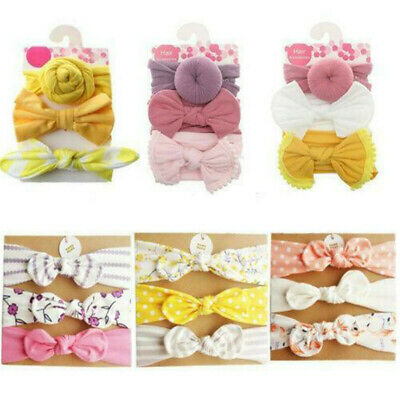 3Pcs/Set Infant Baby Girl Bow Stretch Headbands Toddler Turban Knot Hair Band