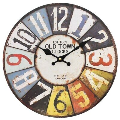 Large Numbers Rustic Retro Kitchen Wall Clock Vintage Old Town 34 cm