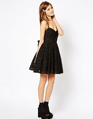 Bnwt French Connection Fcuk Glitter Bow Back Black Dress Size Uk 8 Rrp £180