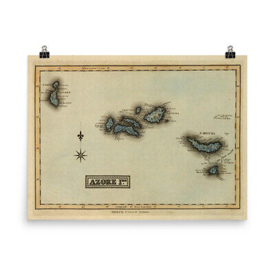 Old Azores Portugal Map (1823) Vintage Açores Islands Atlas Poster