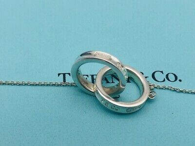 "Auth Tiffany Necklace 1837 Interlocking Double Circles Rings 15"" O53"