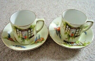 Burslem England porcelain Leighton Pottery Old Cottage Window cup and saucer