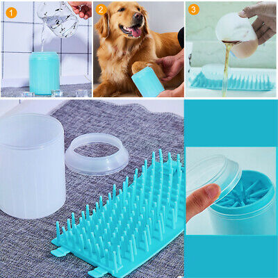 UK Portable Dog Paw Clean Barrel Pet Clean Brush Cup Dog Foot Cleaner Feet Wash