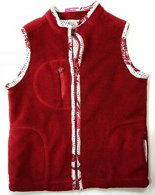 Old Navy Girls S 6 7 Red Fleece Vest with Floral Mesh Lining Zip Front Pockets