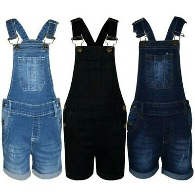 Kids Girls Dungaree Shorts Denim Ripped Stretch Jeans Overall Jumpsuit 5-13 Year