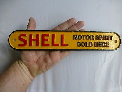 Vintage Retro Cast Iron Painted Shell Motor Spirit Sold Here Small Sign