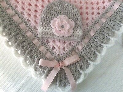 Crochet Baby Blanket Set, Baby Beanie Hat, Baby Booties in Light Pink, White and