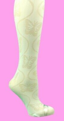 1 Pair Girls white butterfly pattern tights 40 Denier Occasion 6-7years  P16