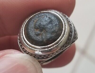 Authentic Ancient Greek Coin of Cleopatra 925 Solid Silver Ring Sz