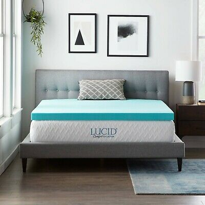 LUCID Comfort Collection Gel Memory Foam Mattress Topper