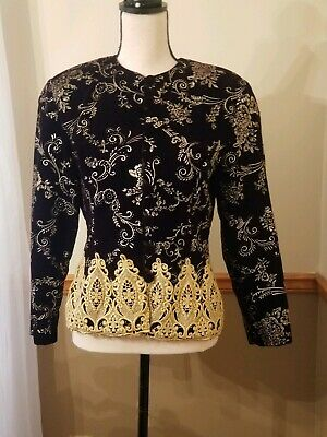 Scott McClintock Black Gold Vintage Cocktail Party Victorian Jacket Women Sz 12
