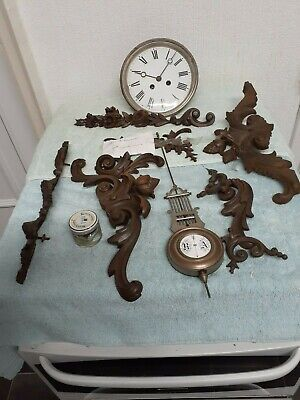 Antique Clock Movement With Lovely Enamel Face
