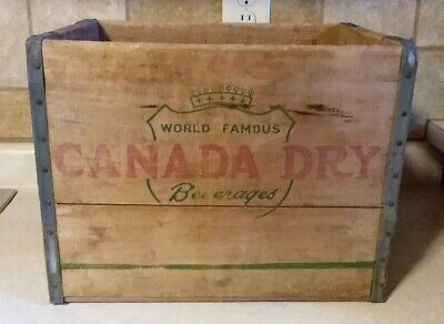 Vtg Wooden Soda Crate Canada Dry Wood Pop Box Ginger Ale Grand Rapids Mich