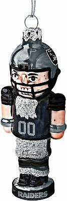 Oakland Raiders Football Logo NFL Blown Glass Nutcracker Christmas Tree Ornament
