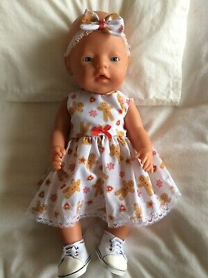 """Doll Clothes to fit 17"""" Baby Born doll ~ Dress & hband  ~ Christmas / Gingerbrea"""