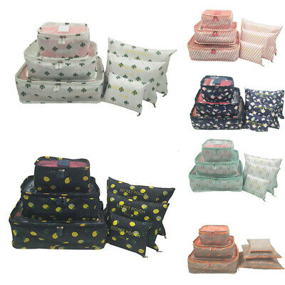 6Pcs Waterproof Clothes Storage Bags Packing Cube Travel Luggage Organizer Pouch