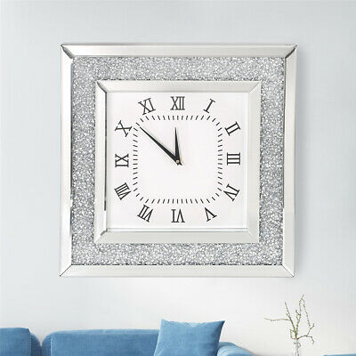 50CM Diamante Mirrored Wall Clock Crushed Jewel Silver Roman Number Glass Clock