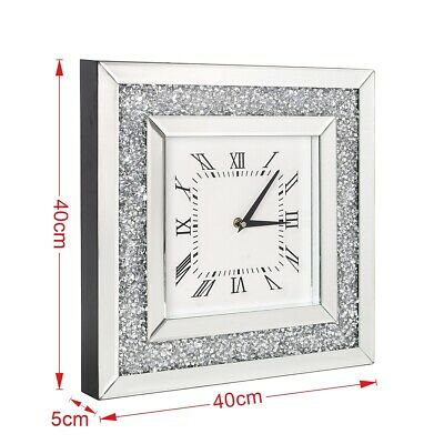 40cm Large Crushed Crystal Mirror Jewel Wall Clock Roman Numbers Diamante Clock