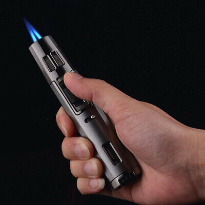 Windproof Refillable Cigarettes Lighter Jet Torch Dual Blue Flame Butane GasGift