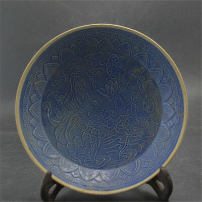 Chinese Old Ding Kiln Blue Glazed Carved Kwanyin Buddha Pattern Porcelain Plate