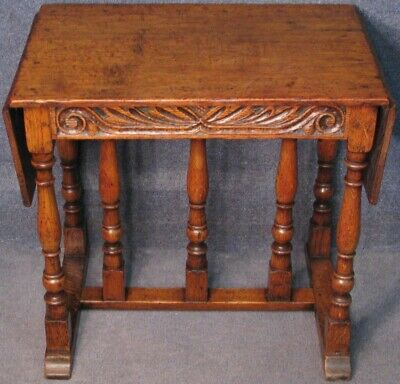 Period Style Carved Solid Oak Drop Leaf Occasional Side Table