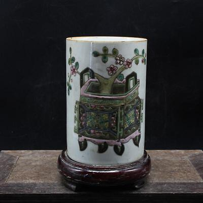 CHINESE OLD MARKED FAMILLE ROSE FLOWER PATTERN PORCELAIN BRUSH POT a2025