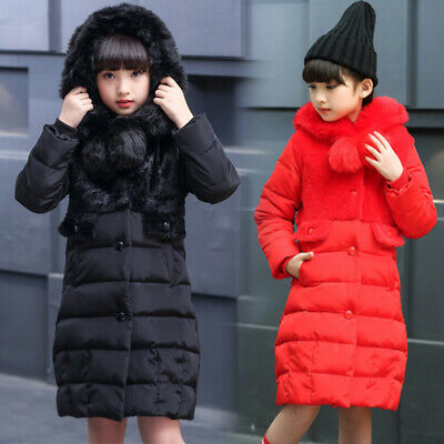 Kid Girls Padded Quilted Winter Coat Jacket Fur Hooded Long School Parka Outwear