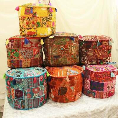 18'' Ottoman Footstool Pouf Cover Indian Handmade Round Vintage Multi Patchwork*