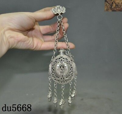 Collect Ancient China Tibet Silver Double fish Incense bag Sachet amulet Pendant