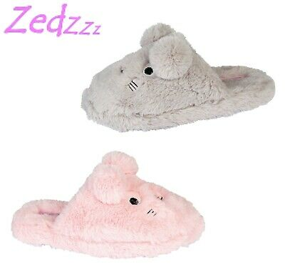 GIRLS RABBIT Soft Warm Fluffy Mule Slippers Pink Grey Faux Fur Size 11 12 13 1 2
