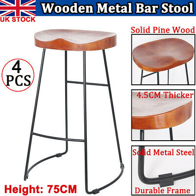 2X Vintage 75cm Wooden Bar Stool  Kitchen Pub Counter Industrial Metal