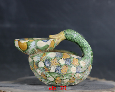 Old China antique Collection Song Tang San color duck Oil lamp carving statue