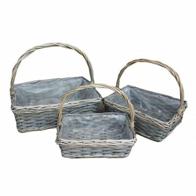 Rectangular Wicker Flower Basket with Plastic Lining