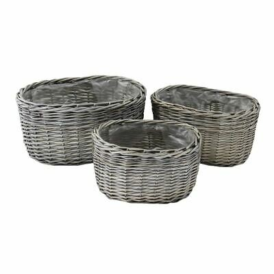 Oval Antique Wash Wicker Planters