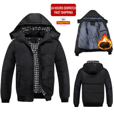 Mens Winter Warm Quilted Padded Coat Thick Puffer Jacket Work Ski Sport Overcoat