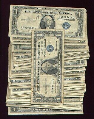 (100) 1935 $1 dollar SILVER CERTIFICATE LOT with star note ALL 1935'S