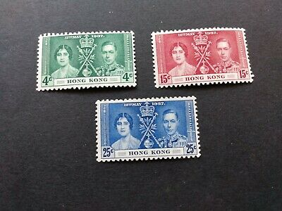 Hong Kong - Sc.#151/53 - A set of 3 unused Stamps K. George VI Coronation (1937)