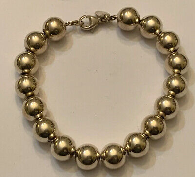 "WOW! - TIFFANY & CO. Sterling Silver (.925) 10MM BALL BEADS Bracelet 7"" Long"