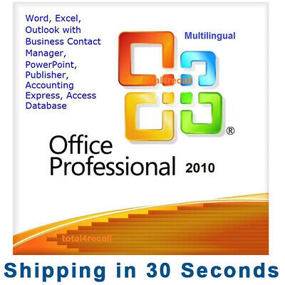 Office 2010 Professional Pro 32/64 bit 100% Genuine Key Product Microsoft