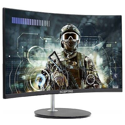 Curved Gaming LED Monitor Full HD 1920x1080 HDMI Thin Computer Screen 24 Inch